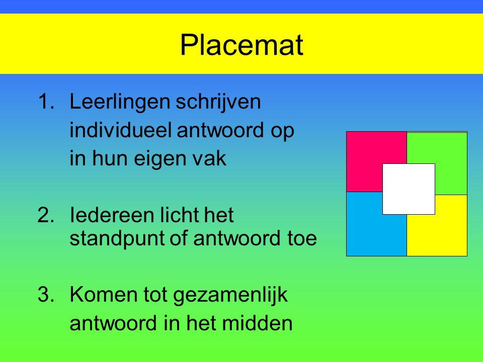 Placemat 1. Leerlingen schrijven individueel antwoord op