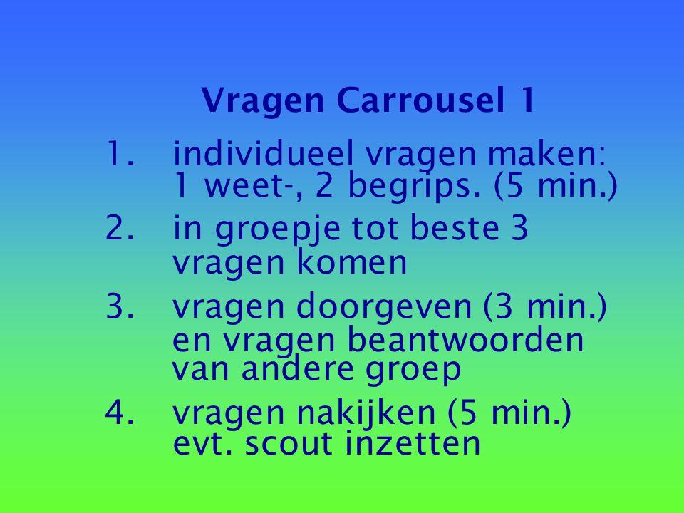 Vragen Carrousel 1 1. individueel vragen maken: 1 weet-, 2 begrips. (5 min.) 2. in groepje tot beste 3.