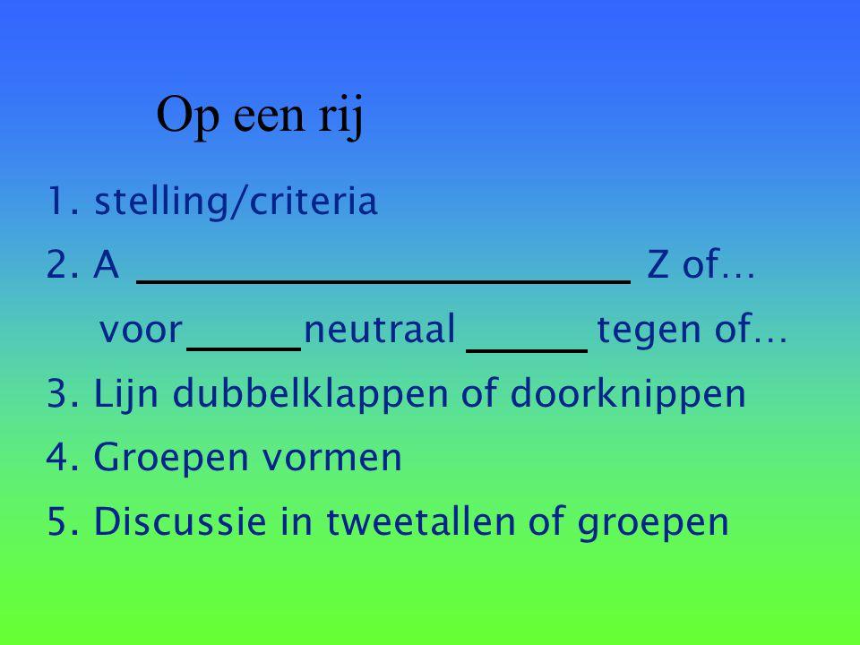 Op een rij 1. stelling/criteria 2. A Z of… voor neutraal tegen of…
