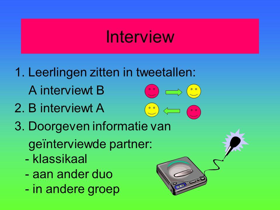 Interview 1. Leerlingen zitten in tweetallen: A interviewt B