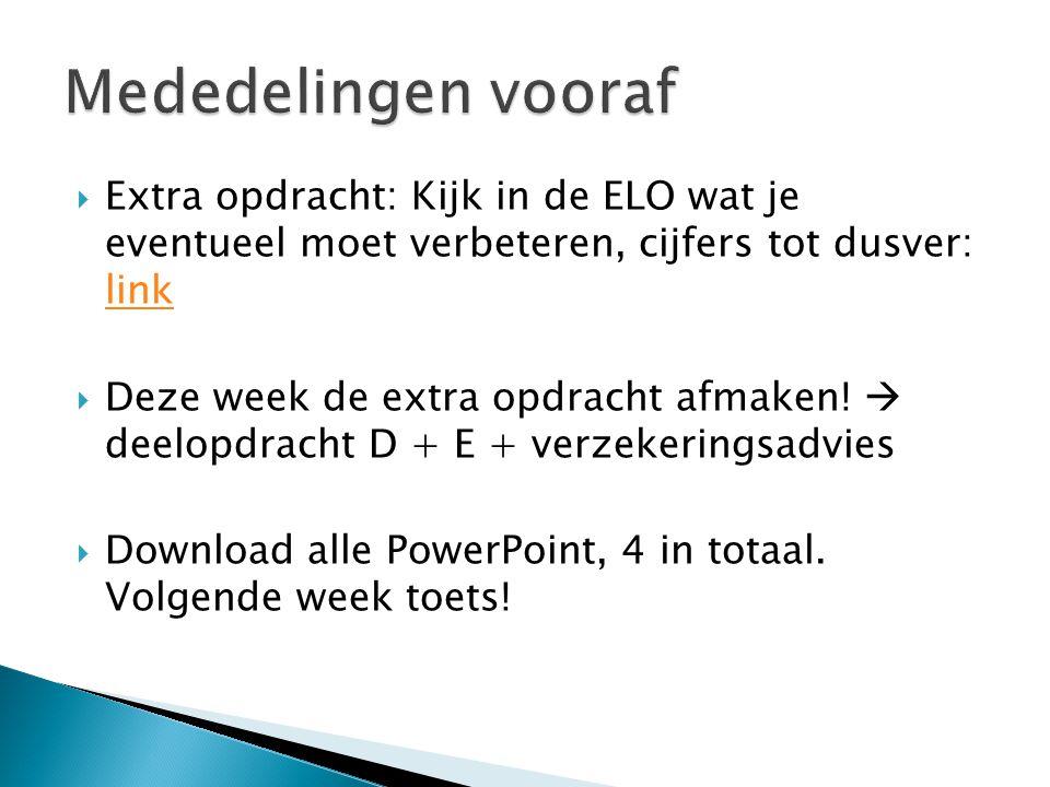 Mededelingen vooraf Extra opdracht: Kijk in de ELO wat je eventueel moet verbeteren, cijfers tot dusver: link.