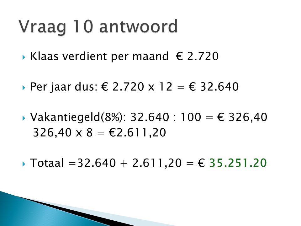 Vraag 10 antwoord Klaas verdient per maand € 2.720