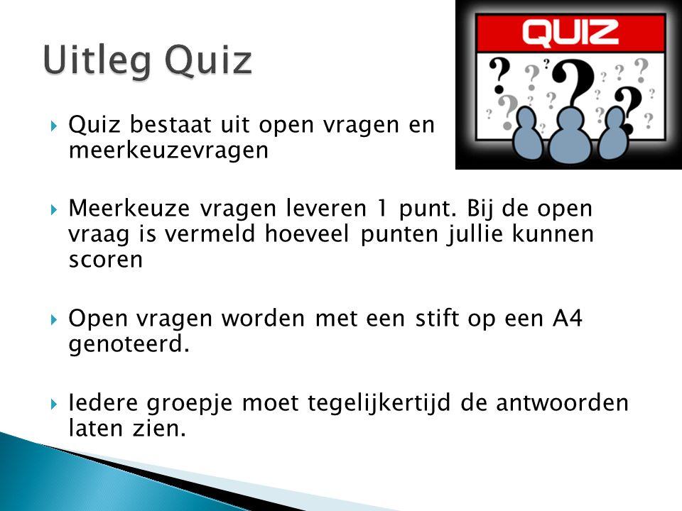 Uitleg Quiz Quiz bestaat uit open vragen en meerkeuzevragen