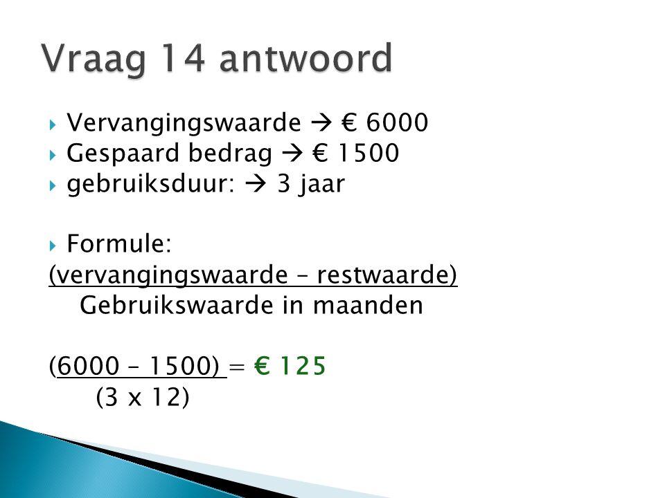 Vraag 14 antwoord Vervangingswaarde  € 6000 Gespaard bedrag  € 1500