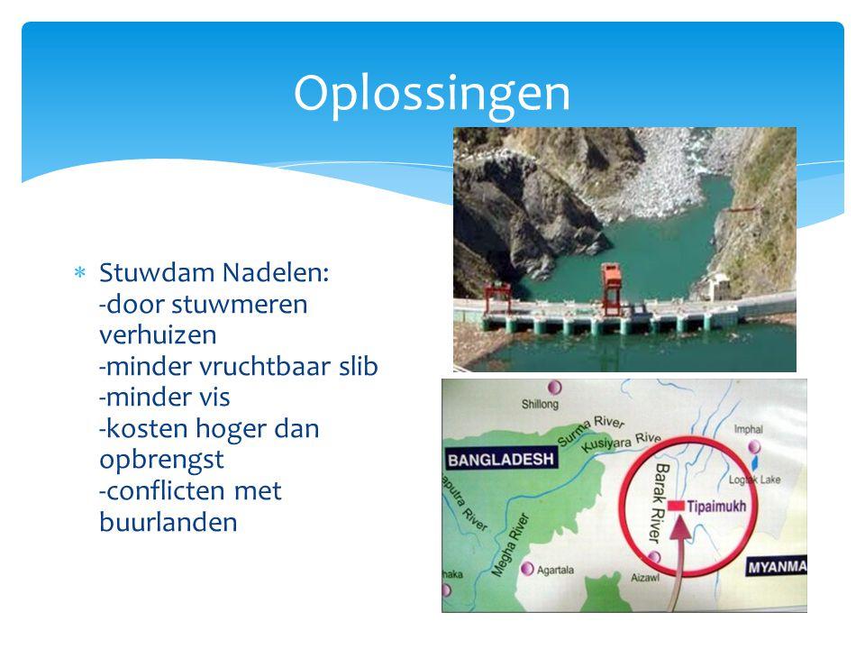 Oplossingen Stuwdam Nadelen: -door stuwmeren verhuizen -minder vruchtbaar slib -minder vis -kosten hoger dan opbrengst -conflicten met buurlanden.