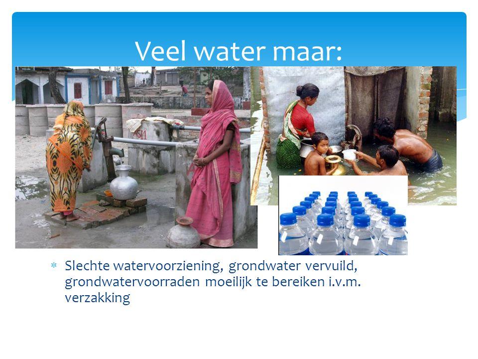Veel water maar: Slechte watervoorziening, grondwater vervuild, grondwatervoorraden moeilijk te bereiken i.v.m.