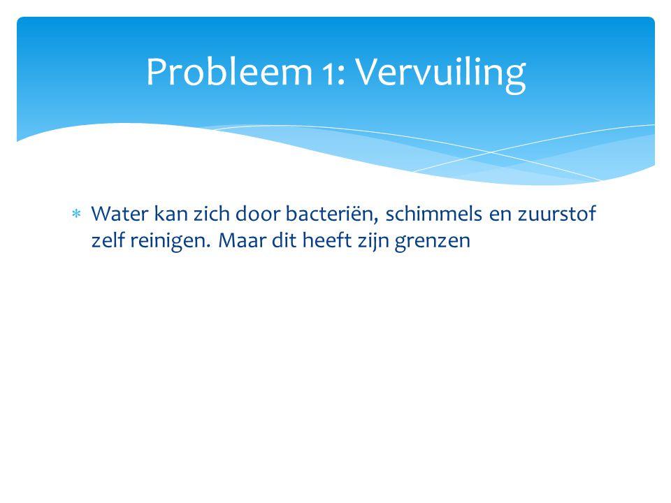 Probleem 1: Vervuiling Water kan zich door bacteriën, schimmels en zuurstof zelf reinigen.