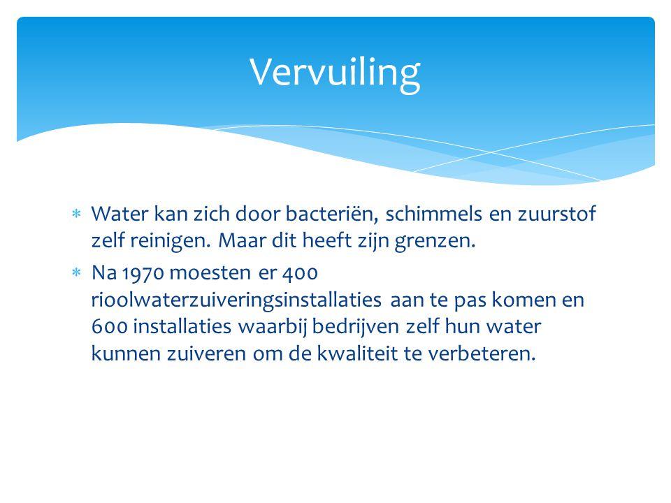 Vervuiling Water kan zich door bacteriën, schimmels en zuurstof zelf reinigen. Maar dit heeft zijn grenzen.