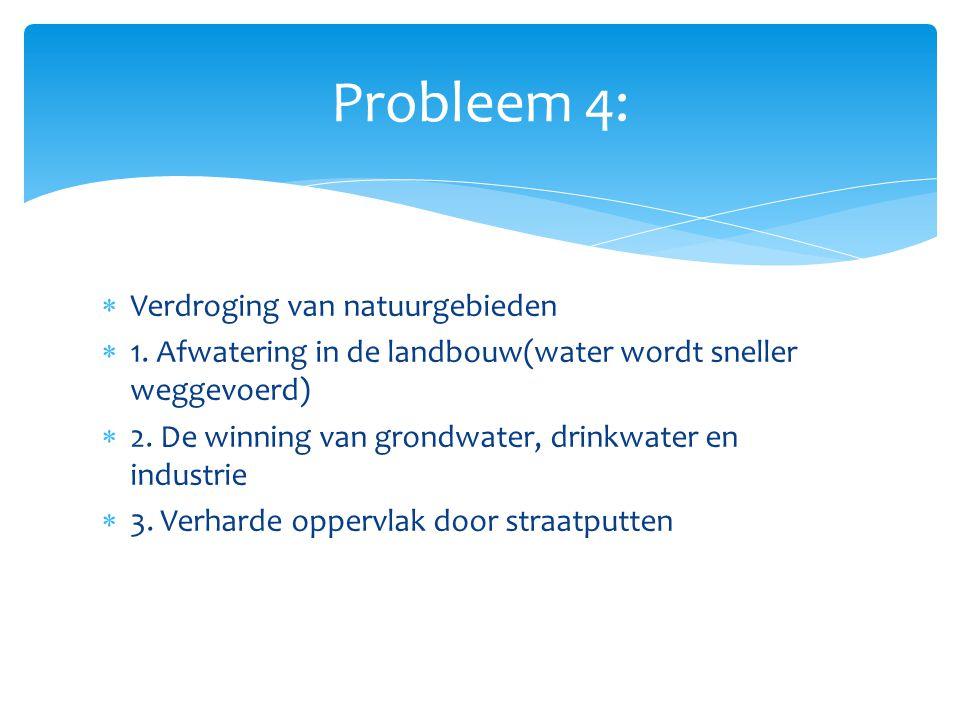 Probleem 4: Verdroging van natuurgebieden