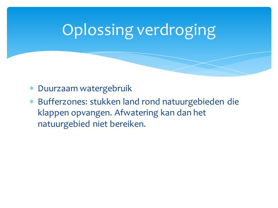 Oplossing verdroging Duurzaam watergebruik