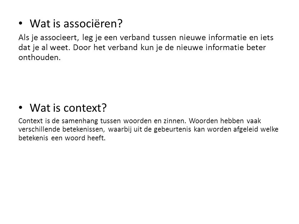 Wat is associëren Wat is context