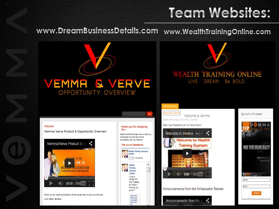 Team Websites: www.DreamBusinessDetails.com