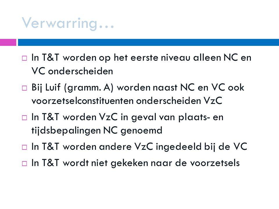 Verwarring… In T&T worden op het eerste niveau alleen NC en VC onderscheiden.