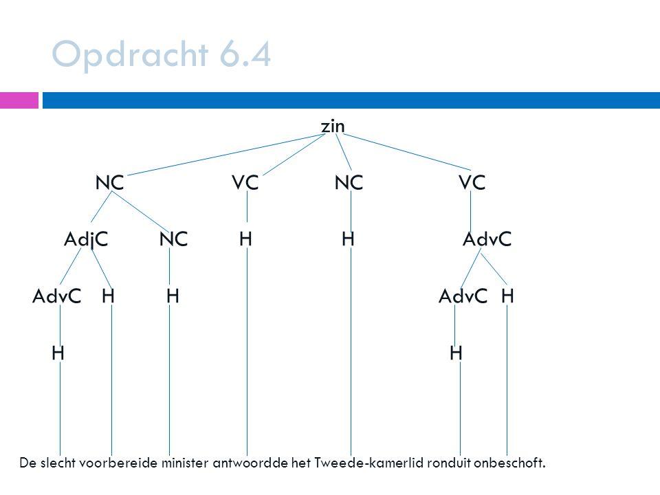 Opdracht 6.4 zin NC VC NC VC AdjC NC H H AdvC AdvC H H AdvC H H H
