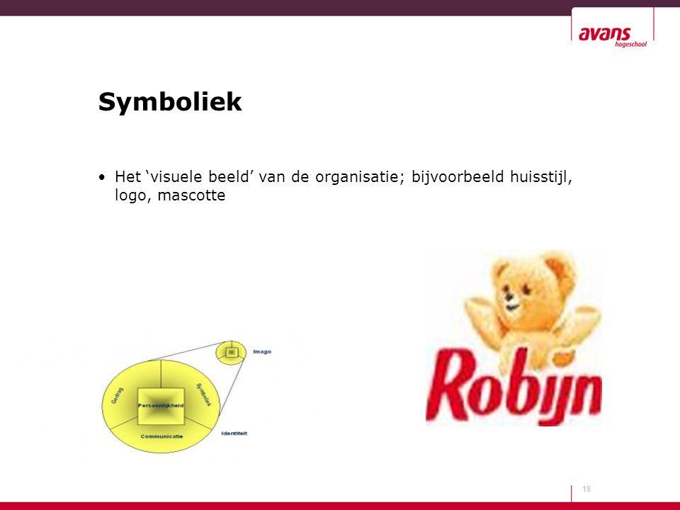 Symboliek Het 'visuele beeld' van de organisatie; bijvoorbeeld huisstijl, logo, mascotte