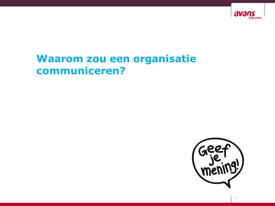 Waarom zou een organisatie communiceren