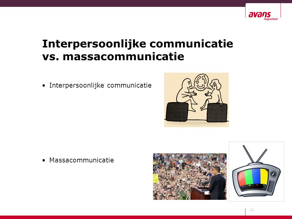 Interpersoonlijke communicatie vs. massacommunicatie