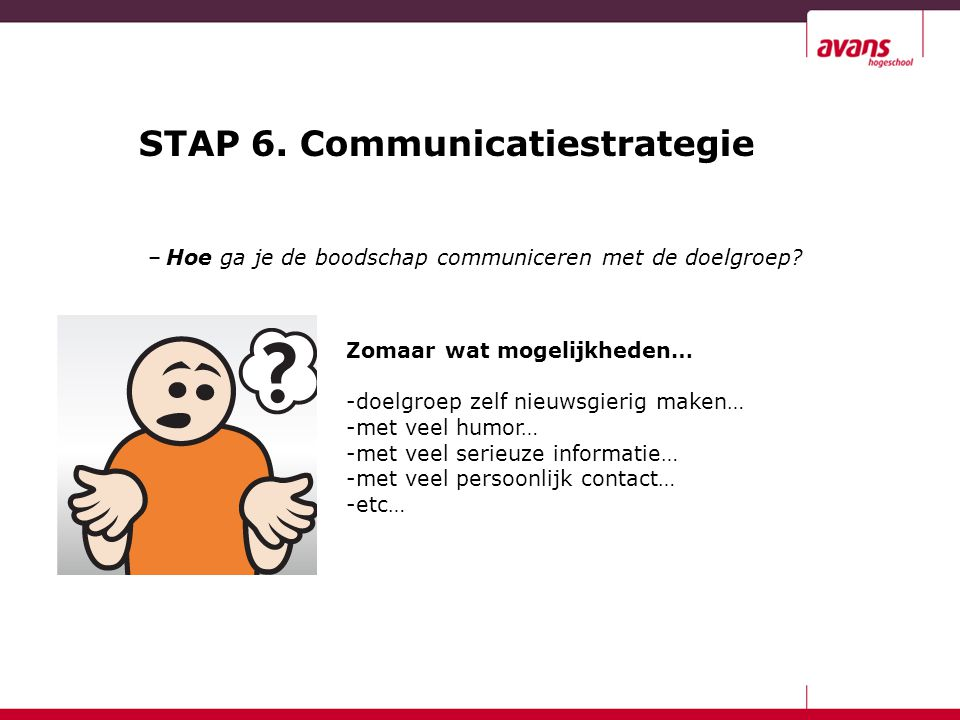 STAP 6. Communicatiestrategie