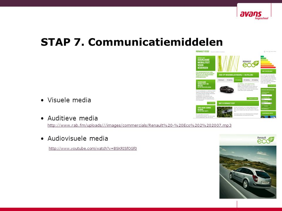 STAP 7. Communicatiemiddelen