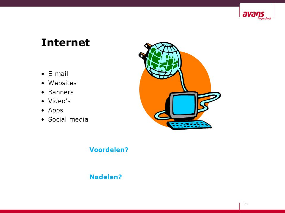 Internet E-mail Websites Banners Video's Apps Social media Voordelen