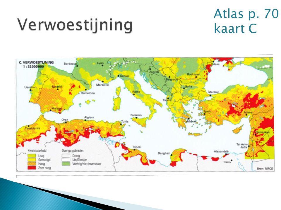 Atlas p. 70 kaart C Verwoestijning