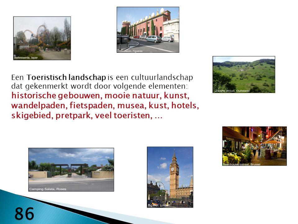 Een Toeristisch landschap is een cultuurlandschap dat gekenmerkt wordt door volgende elementen: