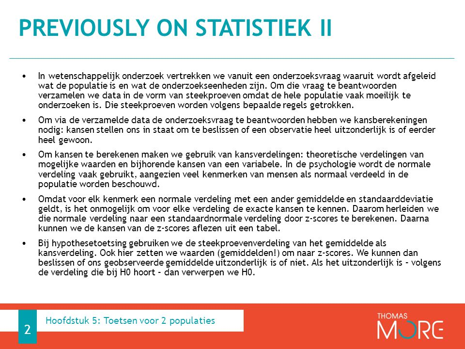 Previously on Statistiek II