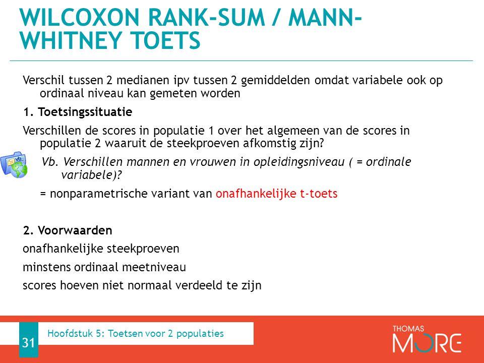 Wilcoxon Rank-Sum / Mann-Whitney toets