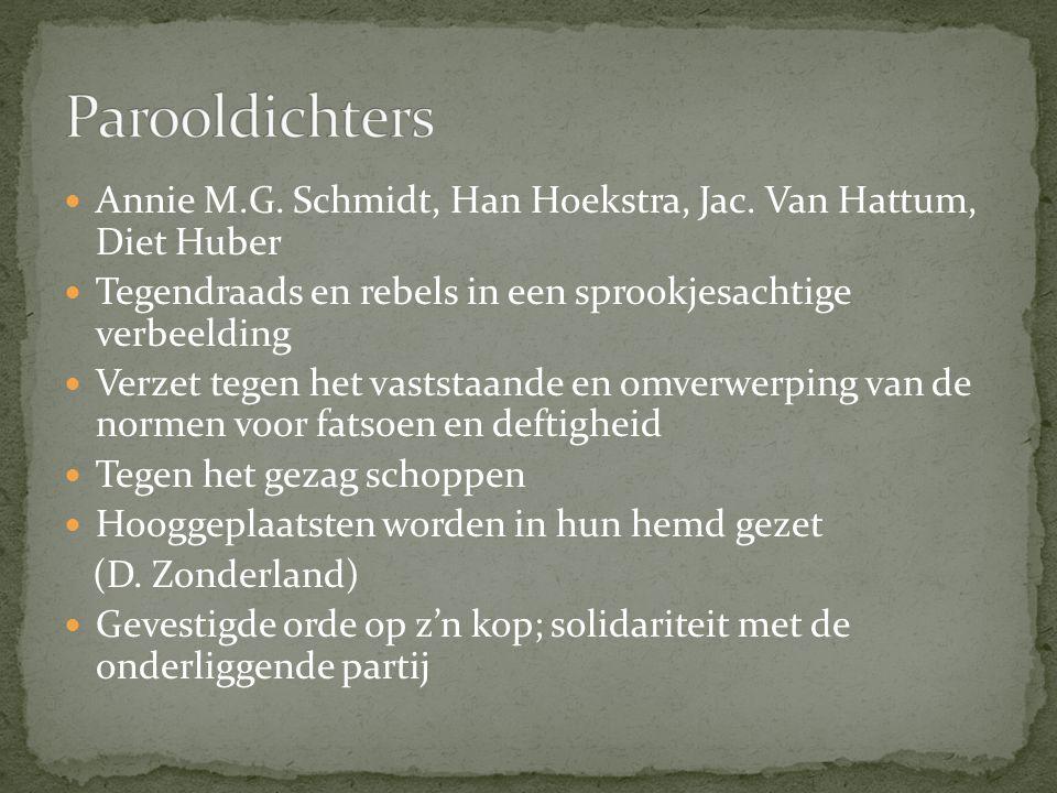 Parooldichters Annie M.G. Schmidt, Han Hoekstra, Jac. Van Hattum, Diet Huber. Tegendraads en rebels in een sprookjesachtige verbeelding.
