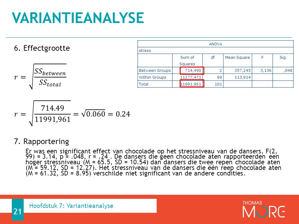Variantieanalyse 6. Effectgrootte 𝑟= 𝑆𝑆 𝑏𝑒𝑡𝑤𝑒𝑒𝑛 𝑆𝑆 𝑡𝑜𝑡𝑎𝑙