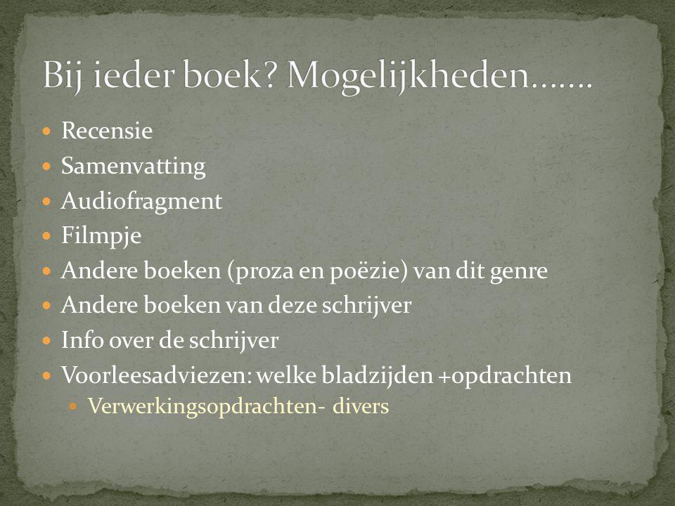 Bij ieder boek Mogelijkheden…….