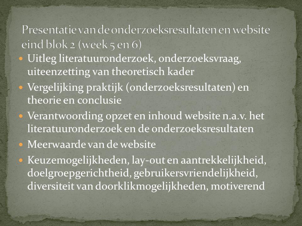 Presentatie van de onderzoeksresultaten en website eind blok 2 (week 5 en 6)