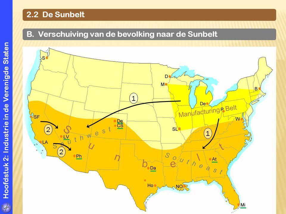 B. Verschuiving van de bevolking naar de Sunbelt
