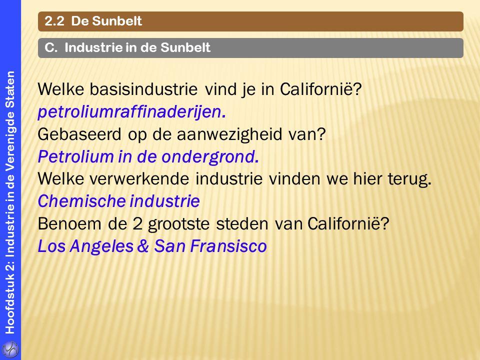 Welke basisindustrie vind je in Californië petroliumraffinaderijen.