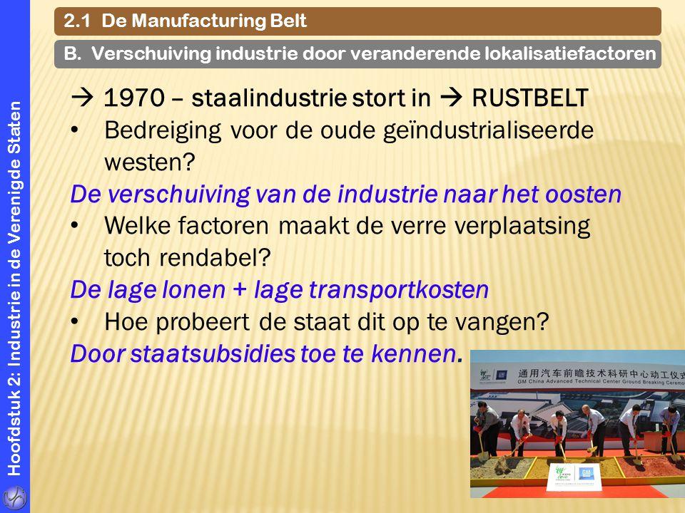  1970 – staalindustrie stort in  RUSTBELT