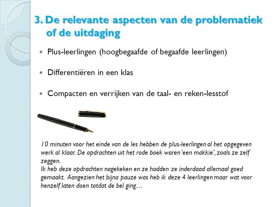 3. De relevante aspecten van de problematiek of de uitdaging