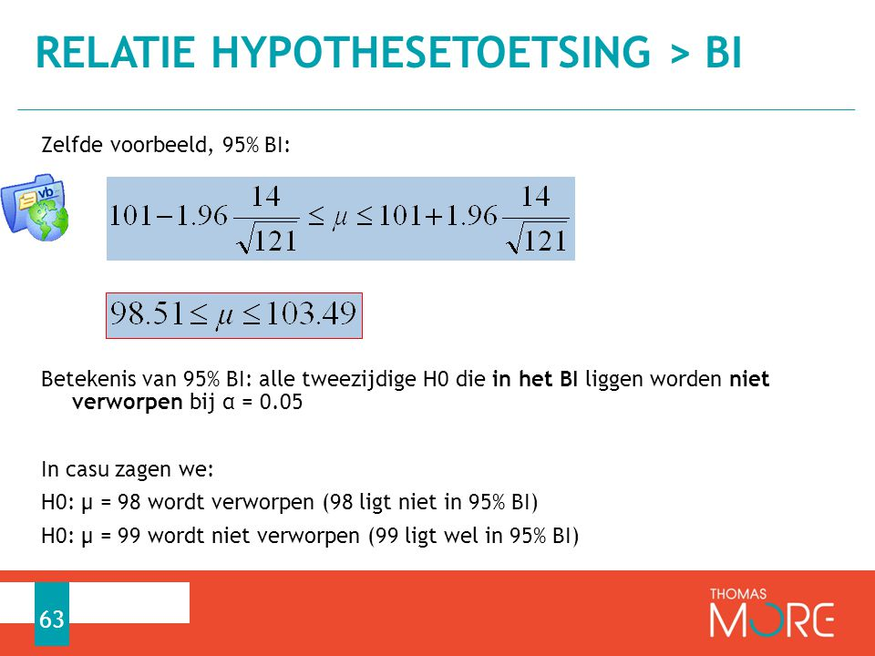 Relatie hypothesetoetsing > BI