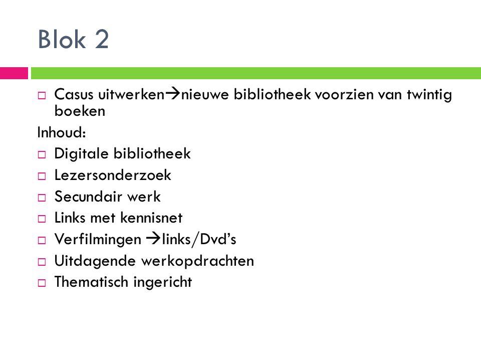 Blok 2 Casus uitwerkennieuwe bibliotheek voorzien van twintig boeken