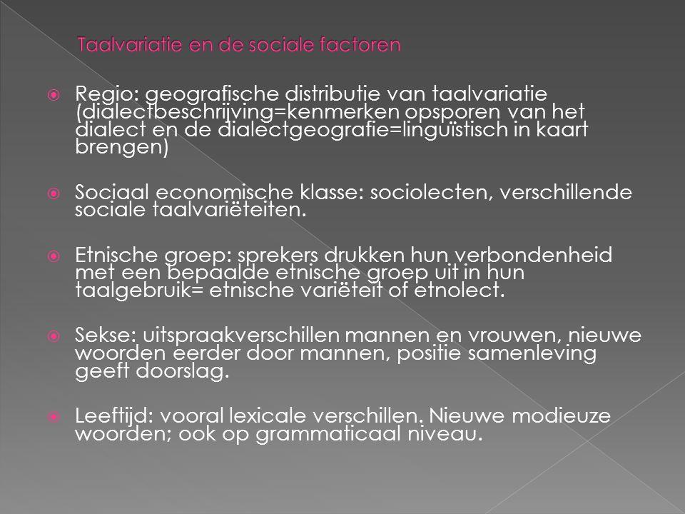 Taalvariatie en de sociale factoren