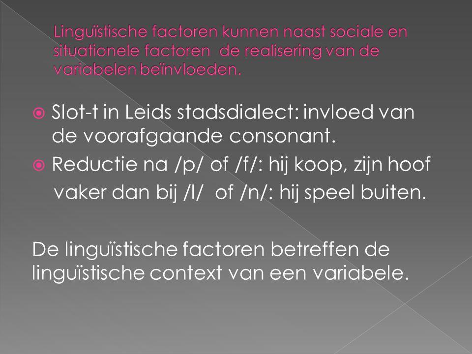 Slot-t in Leids stadsdialect: invloed van de voorafgaande consonant.