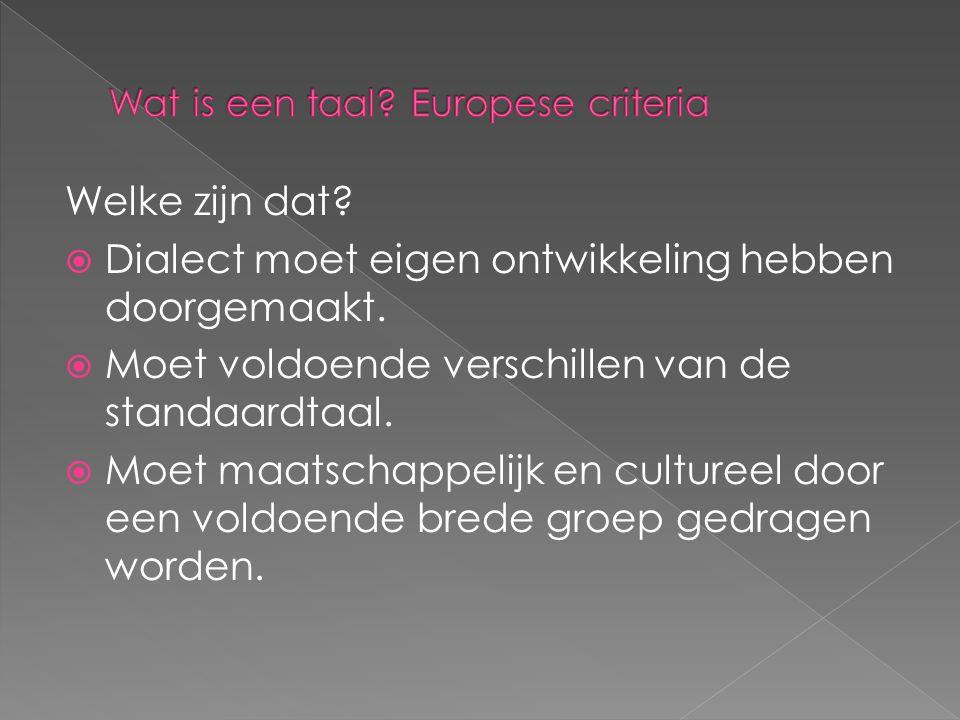 Wat is een taal Europese criteria