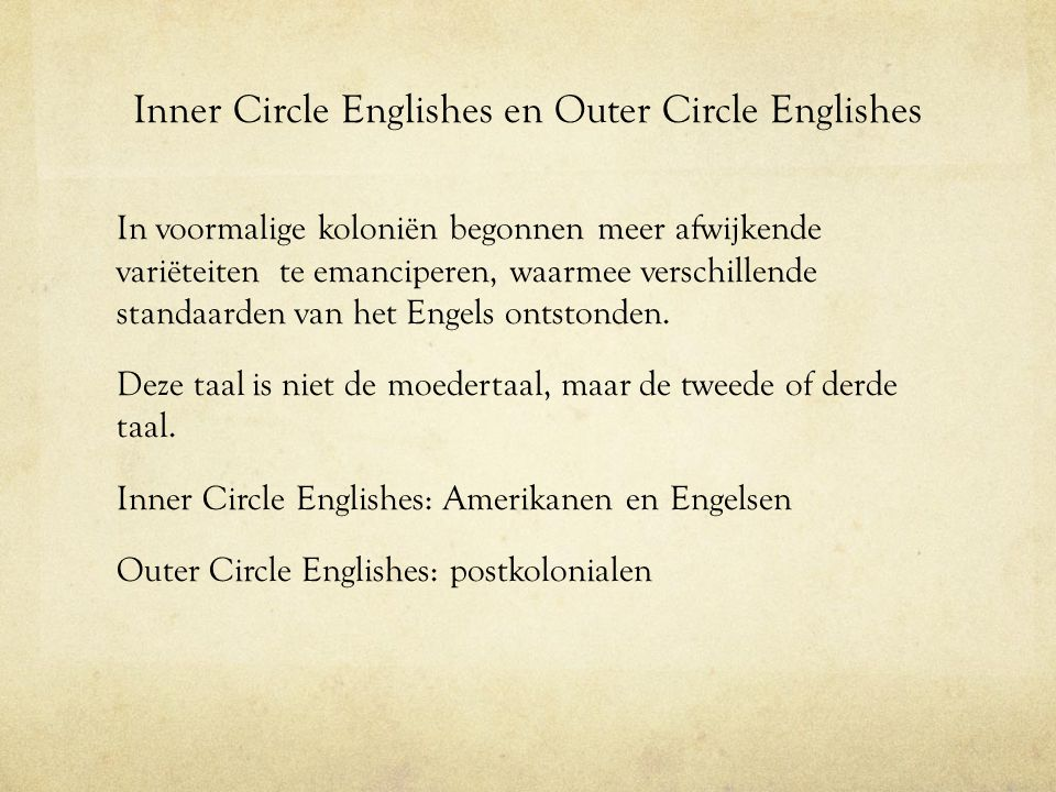 Inner Circle Englishes en Outer Circle Englishes
