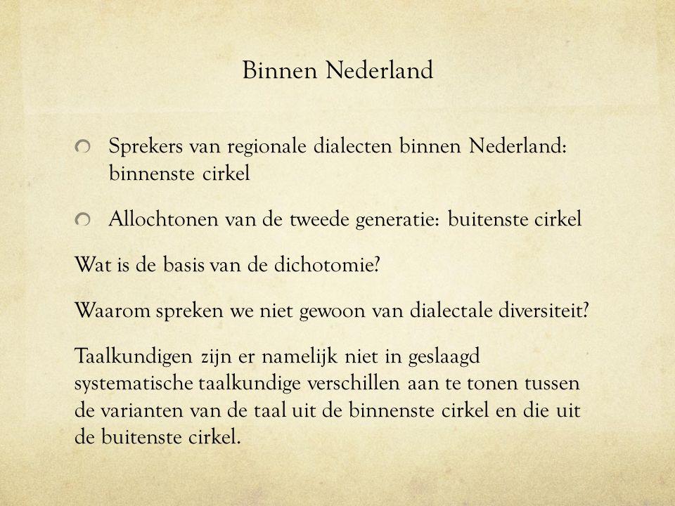 Binnen Nederland Sprekers van regionale dialecten binnen Nederland: binnenste cirkel. Allochtonen van de tweede generatie: buitenste cirkel.
