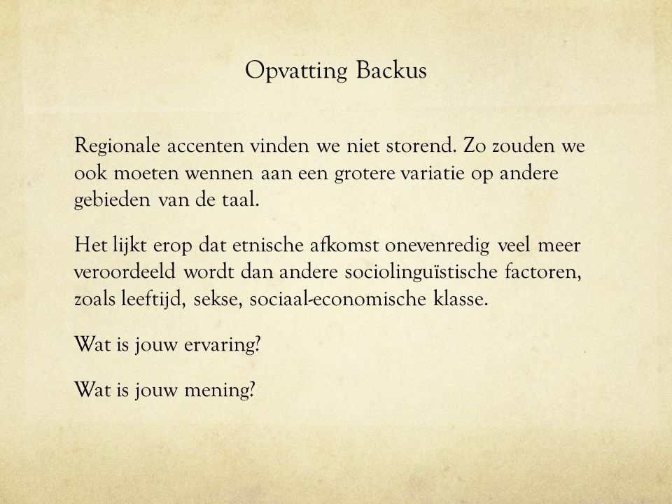 Opvatting Backus