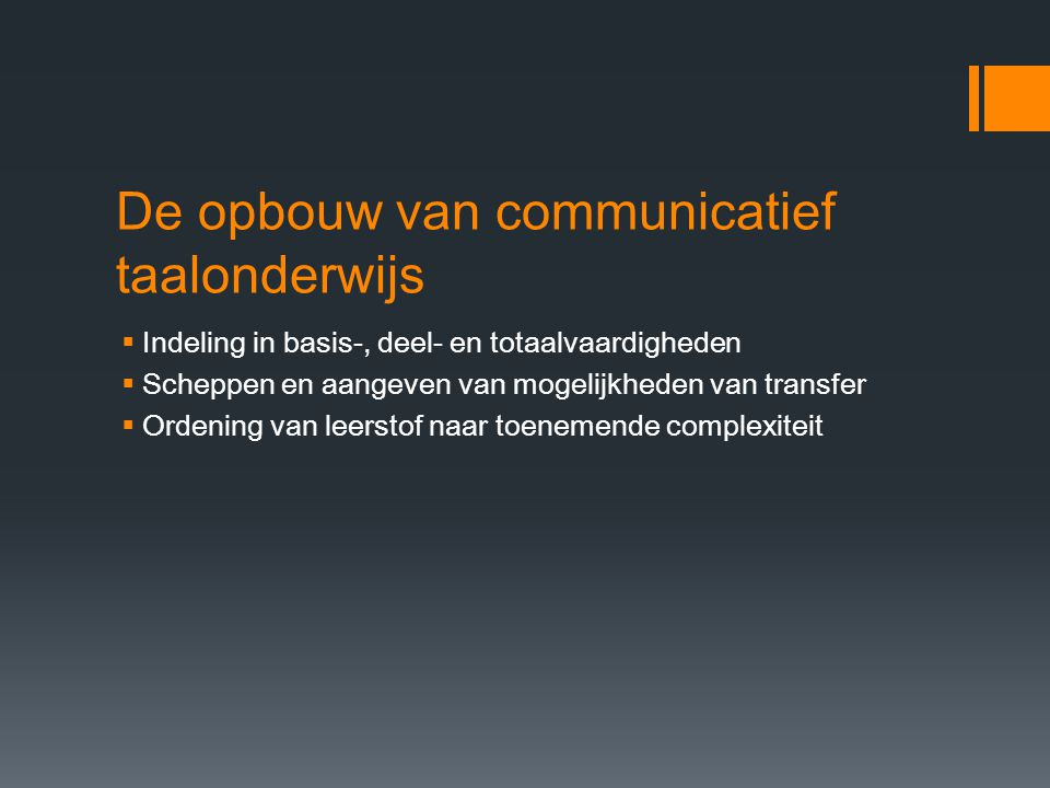 De opbouw van communicatief taalonderwijs