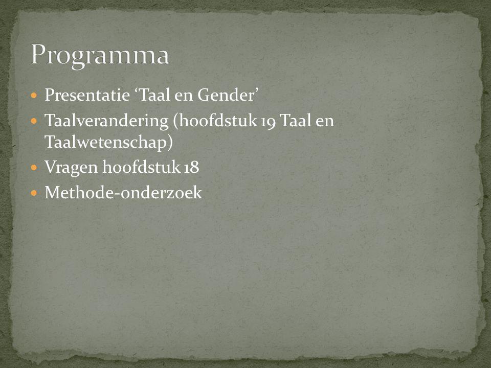 Programma Presentatie 'Taal en Gender'