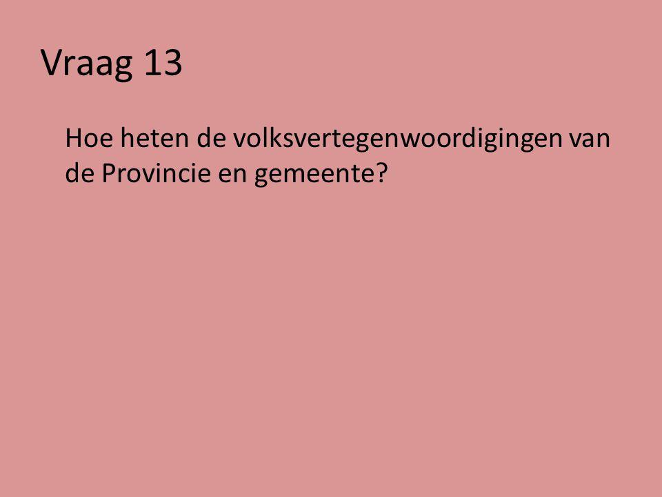 Vraag 13 Hoe heten de volksvertegenwoordigingen van de Provincie en gemeente