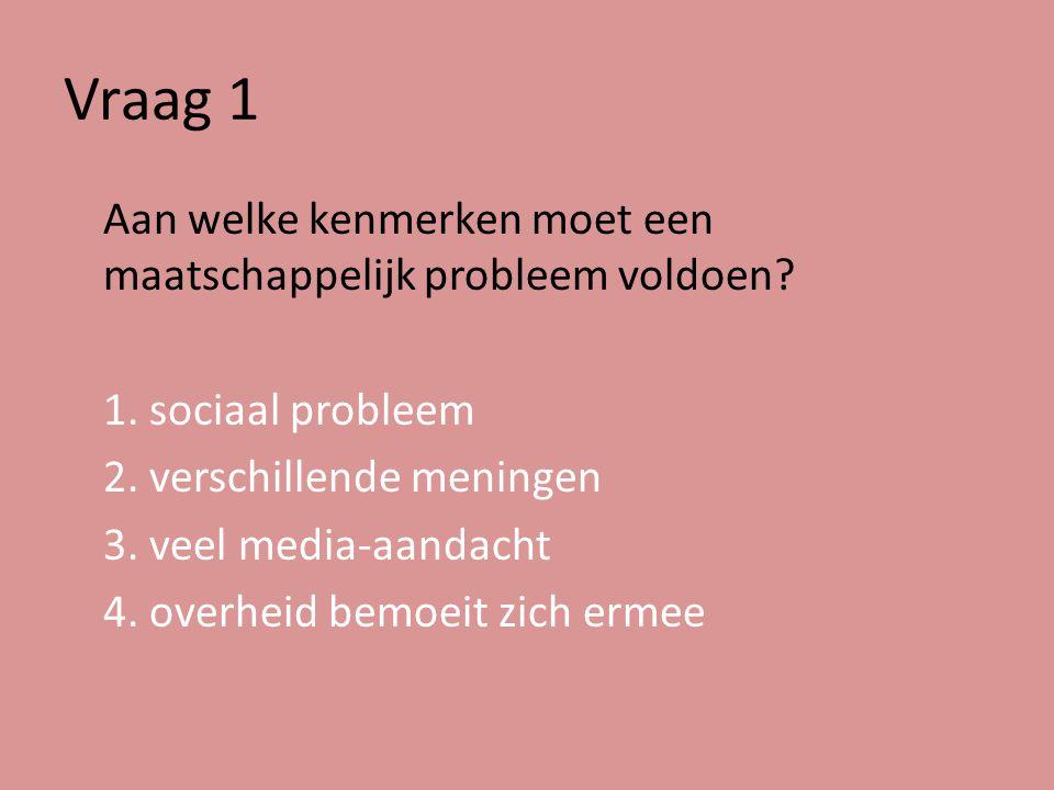 Vraag 1 Aan welke kenmerken moet een maatschappelijk probleem voldoen