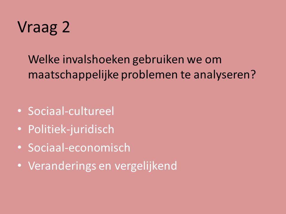 Vraag 2 Welke invalshoeken gebruiken we om maatschappelijke problemen te analyseren Sociaal-cultureel.