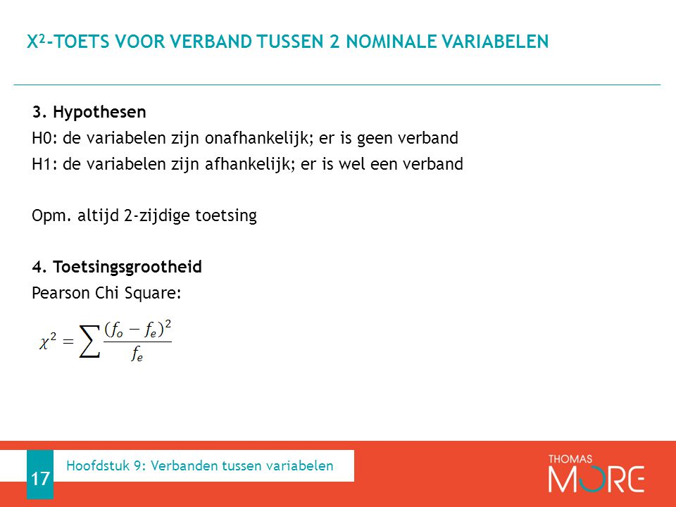 Χ²-toets voor verband tussen 2 nominale variabelen